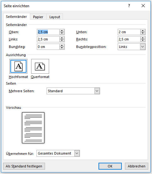 In Word das Seitenlayout verwenden_Benutzerdefinierte Seitenränder