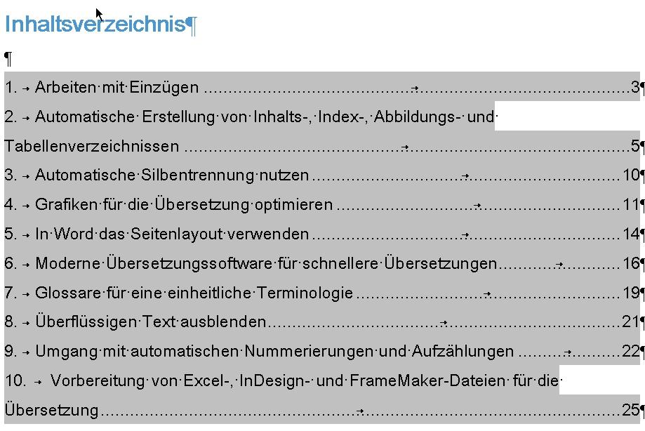 Automatische Inhaltsverzeichnisse - so sehen Sie generiert aus