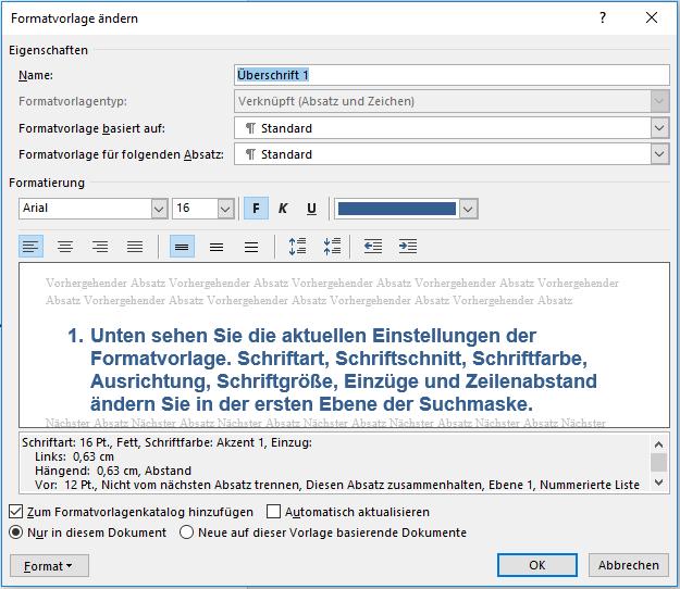 Automatische Inhaltsverzeichnisse - Definieren Sie Formatvorlagen