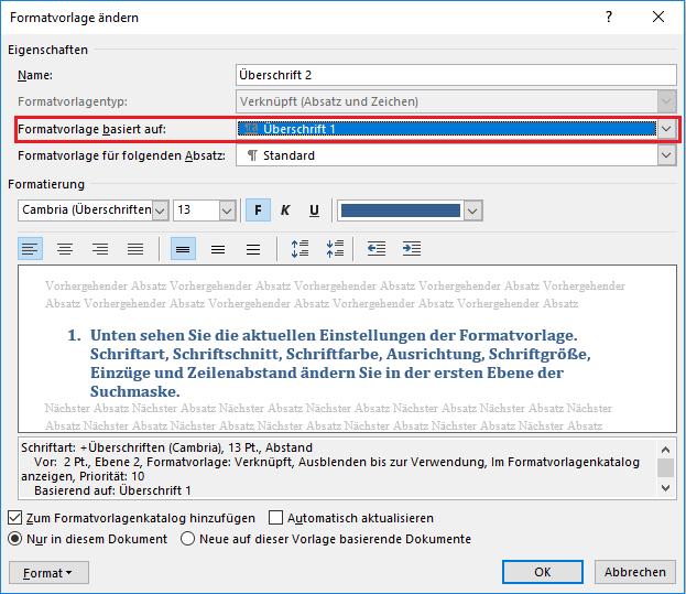 Automatische Inhaltsverzeichnisse - Überschriften definieren